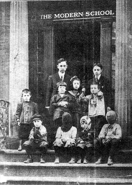 The Modern School in New York City, circa 1911-12. Will Durant stands with his pupils. This image was used on the cover of the first Modern School magazine. The Modern School in New York City, circa 1911-12.jpg