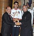 The President, Shri Pranab Mukherjee presenting the Padma Shree Award to Shri Surender Sharma, at an Investiture Ceremony, at Rashtrapati Bhavan, in New Delhi on April 05, 2013.jpg