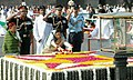 The President, Smt. Pratibha Devisingh Patil paying floral tributes to the Father of the Nation Mahatma Gandhi on his 138th birth anniversary, at his Samadhi at Rajghat, in Delhi on October 02, 2007.jpg