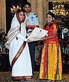 The President, Smt. Pratibha Devisingh Patil presenting the National Child Award to Koppaka Lakshmi Praharshita of Andhra Pradesh, on the occasion of Children's Day, at Rashtrapati Bhavan, in New Delhi on November 14, 2010.jpg