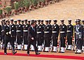 The President of France, Mr. Nicolas Sarkozy inspecting the Guard of Honour at the ceremonial reception, in New Delhi on January 25, 2008.jpg