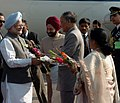 The Prime Minister, Dr. Manmohan Singh being received by the Governor of Manipur, Dr. S.S. Sidhu and the Chief Minister of Manipur Shri O. Ibobi Singh at Imphal Airport on December 2, 2006.jpg