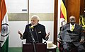 The Prime Minister, Shri Narendra Modi delivering his address in Parliament of Uganda, at Kampala on July 25, 2018. The President of Uganda, Mr. Yoweri K. Museveni is also seen.JPG