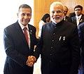 The Prime Minister, Shri Narendra Modi meeting the President of the Republic of Peru, Mr. Ollanta Humala, on the sidelines of the Sixth BRICS Summit, at Brasilia, in Brazil on July 16, 2014.jpg