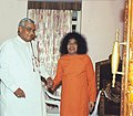 The Prime Minister Shri Atal Bihari Vajpayee with Shri. Satya Sai Baba in Prashanthinilayam at Puttaparthi, Andhra Pradesh on February 11, 2004.jpg