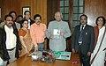 """The Speaker, Lok Sabha, Shri Somnath Chatterjee releasing a book titled """"Cancer & Lifestyle"""", in New Delhi on December 10, 2008.jpg"""