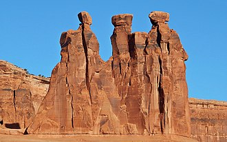 Entrada Sandstone - The Three Gossips in Arches National Park