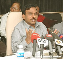 The Union Minister for Communications and Information Technology, Shri A. Raja addressing a Press Conference, in New Delhi on November 12, 2007.jpg