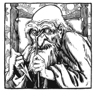 Ysbaddaden - So huge is his frame, Ysbaddaden requires great forks to prop up his eyelids. Illustration by John D. Batten, 1892