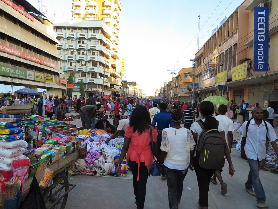 The close view of the Kariakoo market in Dar es Salaam