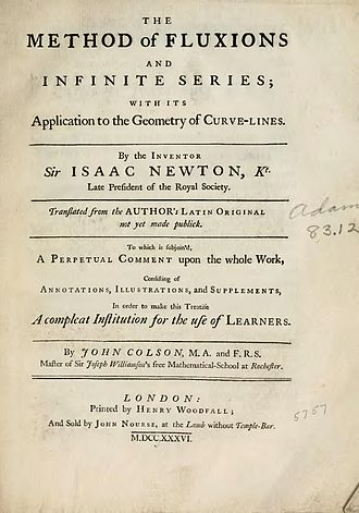 Method of Fluxions - Cover of book published in 1736