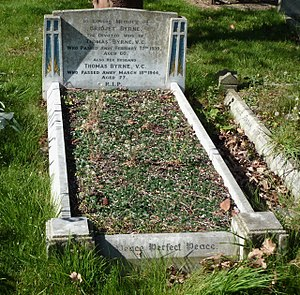 Thomas Byrne (VC) - Byrne's grave (Section MJ Grave 22) at Canterbury City Cemetery, England, in 2017