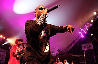 Three 6 Mafia - Juicy J (front) and DJ Paul (back) performing
