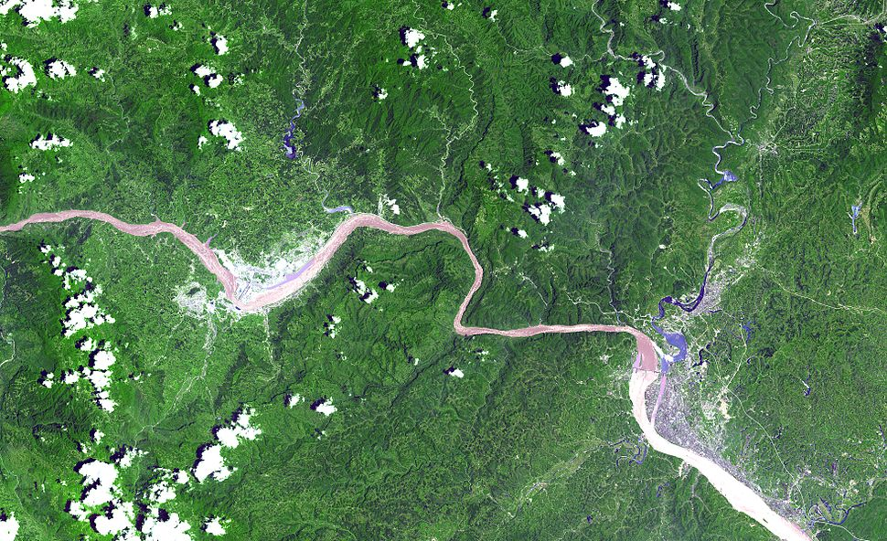 Three gorges dam from space