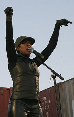Arnold performs for service members during the United Service Organization's Holiday Tour, 2008. Tichina Arnold Al Asad.jpg