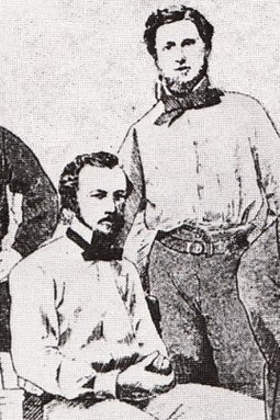 Hammersley (standing), The Australasian's chief sportswriter, led a campaign to have Wills (seated) banned from intercolonial cricket. Tom Wills William Hammersley.jpg