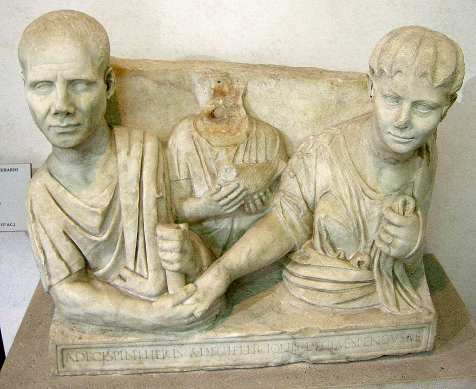 Tomba dei decii, dalla via ostiense, 98-117 dc.