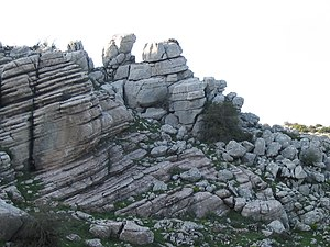 Limestone - Limestone outcrop in the Torcal de Antequera nature reserve of Málaga, Spain