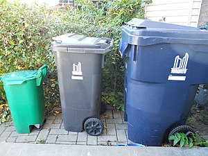 Recycling in Canada - These three differently-coloured bins are used to sort waste in Toronto.