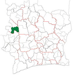 Location in Ivory Coast. Touba Department has had these boundaries since 2011.