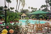 Resorts combine a hotel and a variety of recreations, such as swimming pools.