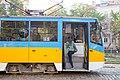 Tram in Sofia near Russian monument 040.jpg