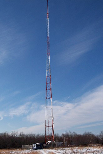 Monopole antenna - Mast radiator monopole antenna used for broadcasting.  AM radio station WARE, Warren, Massachusetts, US.