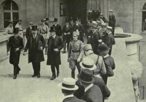 Karl Renner - Renner (centre) leaving the Château de Saint-Germain, having signed the treaty