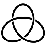 A trefoil knot a mathematical version of an overhand knot.