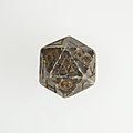 Twenty-sided die (icosahedron) with faces inscribed with Greek letters MET 10.130.1158 002.jpg
