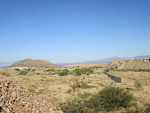 Twin Buttes, Pima County, Arizona - The Twin Buttes Cemetery and surrounding area. The Twin Buttes formation is at the left.