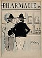 Two men share a joke about leeches in front of a pharmacy wi Wellcome V0011885.jpg