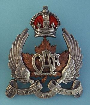 Canadian Air Force (1920–24) - Image: Type 2 for Officers peaked cap, height 67mm (ex R.H. Drummond collection)