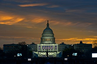Inauguration of Donald Trump - Preparations at the United States Capitol in Washington, D.C. as the sun begins to rise on the morning of the inauguration