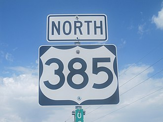 U.S. Route 385 - Route 385 in Texas Panhandle north of Vega, Texas