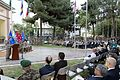 U.S. Marine Corps Gen. Joseph F. Dunford Jr., at lectern, delivers remarks during the International Security Assistance Force and U.S. Forces-Afghanistan change of command ceremony Aug. 26, 2014, in Kabul 140826-D-HU462-604.jpg