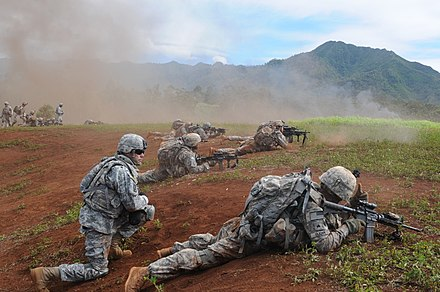 Soldiers from 3rd Brigade engage a simulated enemy during an exercise near Schofield Barracks, Hawaii