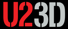 "A wordmark in a stencil-like typeface with ""U2"" in red and ""3D"" in silver in front of a black background."