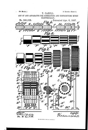 Tonewheel - Rheotome-cylinders and electric-brushes used on Telharmonium (1896)