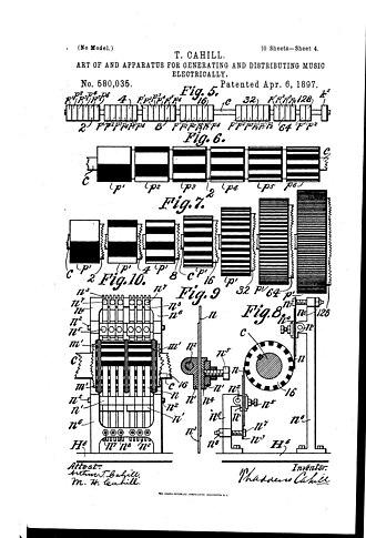 Tonewheel - Rheotome-cylinders and electric-brushes used on Telharmonium (1896)
