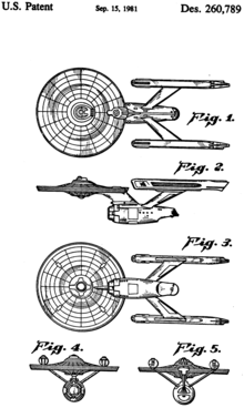Black-on-white drawings of the USS Enterprise