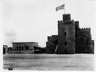 United States occupation of the Dominican Republic (1916–24) - The Flag of the United States waving over Ozama Fortress.