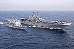 USS Bonhomme Richard conducts fueling operations with guided-missile cruiser USS Shiloh. (25737415032).jpg