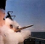 USS Chicago (CG-11) launches a RIM-24 Tartar missile, circa in late 1977.jpg