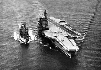 USS Firedrake (AE-14) - Image: USS Firedrake (AE 14) replenishing Constellation (CVA 64) c 1963