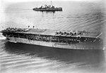 USS Langley (CV-1) and USS Somers (DD-301) underway off San Diego, in 1928 (ggbain.38542).jpg
