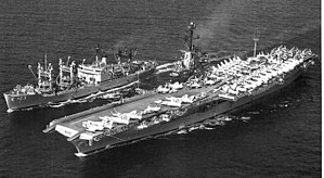 USS Nitro (AE-23) replenishing USS Intrepid (CVA-11), circa in 1961