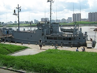 Korean conflict - The captured USS Pueblo being visited by tourists in Pyongyang