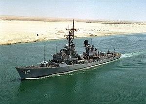 USS Tattnall (DDG-19) transiting the Suez Canal on 22 August 1990 (NH 106741-KN)