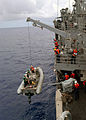US Navy 030605-N-7902K-025 Sailors aboard the guided missile frigate USS Ingraham (FFG 61) hoist the port rigid hull inflatable boat (RHIB) after completing an early morning recovery training exercise.jpg